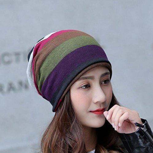 Longless L'épaississement de l'hiver au chaud à capuche à rayures hat mode féminine les hommes et les femmes en général hat