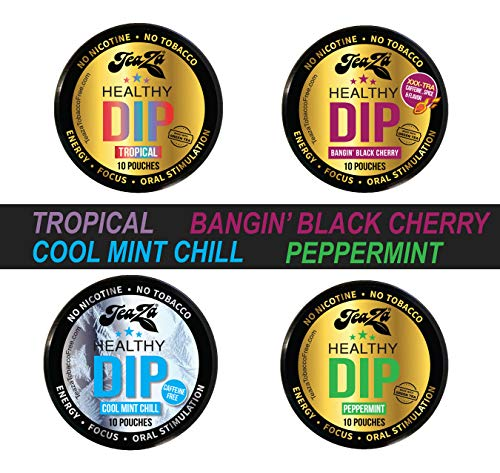 NEW Teaza Herbal Energy Pouch Mixed (4 pack) Peppermint-Tropical-Cool Mint Chill-Banging Black Cherry