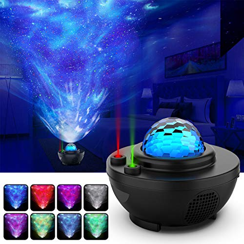 Night Light Projector Star Projector Ocean Wave Projector-Galaxy Projector Two Laser Lights with Bluetooth Music Speaker,Prefect for Bedroom/Game Rooms/Party/Night Light Ambiance