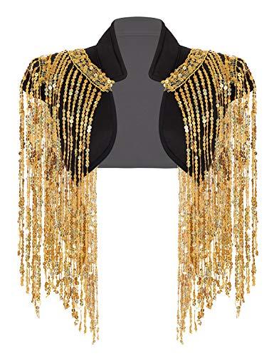 inlzdz Damen Weste Ärmellos Glitzer Jacke mit Pailletten Quasten Hip-Hop Jazz Disco Kostüm Weste Tops Karneval Fasching Silvester Party Verkleidung Gold One Size