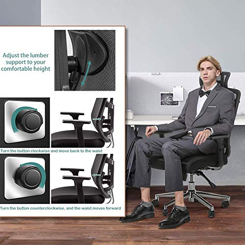 MotionGrey - Stylish Ergonomic Office Chair , Comfortable Computer Desk Chair, Breathable Mesh Office Chair, Ergonomic Chair with Adjustable Head & Armrest & Lumbar, Computer Chair - Home Office Chair - Mesh Chair