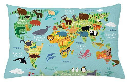 ABAKUHAUS Viajeros Funda para Almohada, Animal Mapa del Mundo para Niños Dibujos Infantil Montaña Bosque, Estampa Digital Nítida en Ambos Lados, 65 x 40 cm, Verde Amarillento