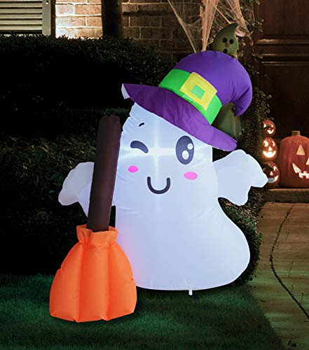 Joiedomi 3.5 FT Tall Halloween Inflatable Wizard Cute Ghost Inflatable with Build-in LEDs Blow Up Inflatables for Halloween Party Indoor, Outdoor, Yard, Garden, Lawn Decorations