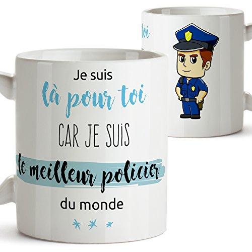 MUGFFINS Taza en francés para un policía - Estoy aquí para ti Porque Soy el Mejor policía del Mundo - Mug/Mug para oficios/Profesiones. Regalos para policías