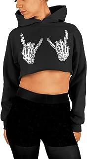 Skeleton Hands, Rock On, Halloween Crop Sweatshirt, Cropped Hoodie