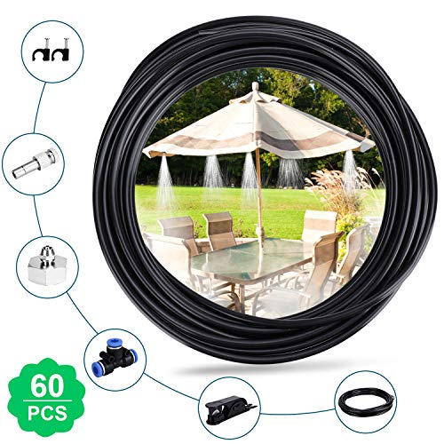 """Homga Misting Cooling System 32.8FT(10M) with 10 Copper Metal Mist Nozzles and a Connector(3/4"""") for Trampoline Patio Misting Micro Flow Watering Automatic Distribution System"""