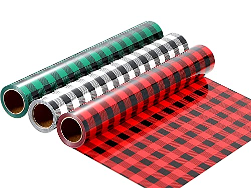 10in x 15ft Buffalo Plaid Heat Transfer HTV Vinyl Roll, 3 Rolls Halloween Christmas Adhesive HTV Iron on Vinyl Patches Leopard Print Reflective Craft Vinyl for DIY T-Shirt Fabric (Classic Pattern)