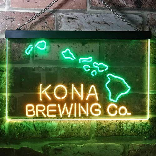 zusme Kona Brewing Beer Novelty LED Neon Sign Green + Yellow W30cm x H20cm