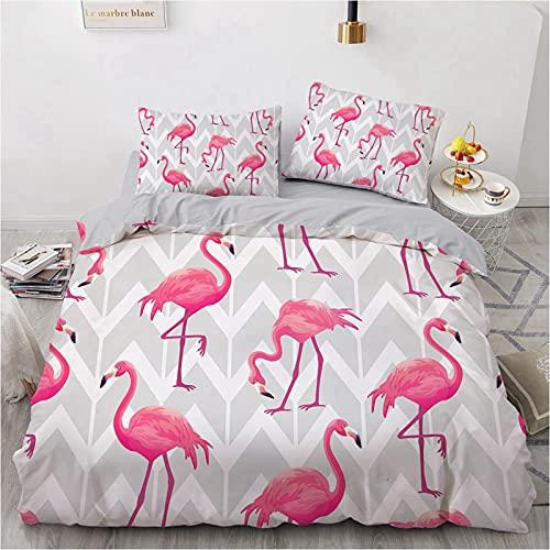 CJCN - Juego de funda de edredón Flamingo con diseño de Flamingo 3D, juego de cama de 3 piezas, con 2 fundas de almohada (140 x 200 cm)