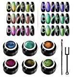 VOXURY Super Cat Eye Gel Nagellack Set - Chamäleon Magnet Gel UV LED mit Magnetstift, Malstift Gel 6PCS Cat Eye Gel Polierset 5ml