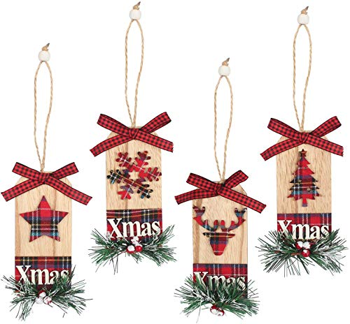 WizPower Christmas Hanging Ornaments Plaid, 4Pcs Buffalo Christmas Tree Ornament Set Red Black Xmas Decoration Wooden for Home Door Yard Kitchen Indoor Outdoor - Star Tree Snowflake Reindeer Tartan