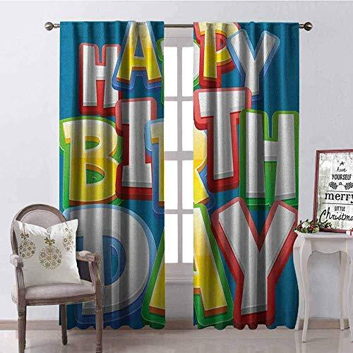 Wild One Curtain Kinder-Geburtstagsvorhang, isoliert, Regenbogenfarben, Aufschrift Happy Birthday, Typographie auf blauem Hintergrund, schalldämpfender Schatten