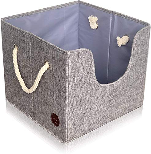Tug's Stuff Perfect Size Dog Toy Box – Pet Leash, Blankets, Dry Treats, Bones, Food, Clothes or Accessory Storage Basket, a Folding Organizer Home Décor Bin with Rope Handles + Kid Baby Toys Storage