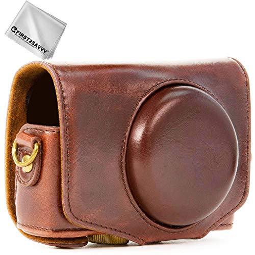 Dunkelbraun Premium Qualität Ganzkörper- präzise Passform PU-Leder Kameratasche Fall Tasche Cover für Sony Cyber-Shot DSC HX99 HX95 HX90V HX80