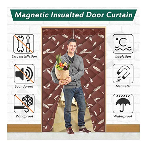 AMCER Thermal Insulated Magnetic Screen Door, Auto Closer DustPrevention, Doorway Cover for Living Room/Patio Door - Brown, 37x80inch