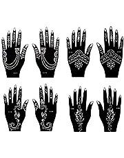 Henna Tattoo Sjablonen, 8 stuks, set voor handen voor henna en airbrush tattooset Mira