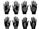 Juego de 8 plantillas para tatuajes de henna y aerógrafo, juego de tatuajes Mira.