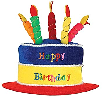 Beistle Plush Fabric Novelty Happy Birthday Cake Hat with Candles – Adult Size Unisex Photo Booth Props Party Favors And Costume Accessories One Multicolor