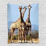 YISUMEI Tier Wandteppich Giraffen Wandtuch Digitaldruck Wandbehang Wohnaccessoires,150x200cm