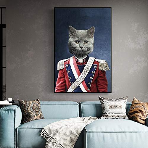 wojinbao DIY Digitale Malerei-Katze in Militäruniform Leinwandbilder an der Wand Kunst Poster und Drucke Lustige Tiere Kunst Leinwand Bilder für Wohnzimmer(40x50cmKein Rahmen)