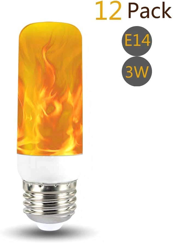 XXIONG 3W LED Flammen Glühbirne E14 3 Modi Gelb 100lm, Auccy Flackernde Leuchtmittel Flamme Effect Birne Flackerlicht Indoor Glühbirnen Dekorative Beleuchtung lampen, 12 Pack