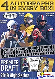 2019 Sage Hit Football HIGH SERIES Factory Sealed Retail Box with FOUR(4) AUTOGRAPHS, 70 ROOKIE Cards & 6 PARALLELS! Look for Rookies & Autos of Drew Lock, Dwayne Haskins, Daniel Jones & More! WOWZZER