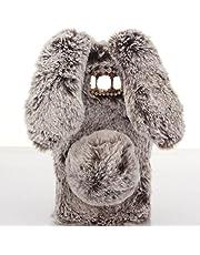 SevenPanda Compatible con Huawei P20 Phone CAS, para Hua Wei P20 Funda, Rabbit Funda Felpa Cubierta Protectora Hecha a Mano Diseño Elegante Cute 3D Diamond RhinestoneFunda - Marrón