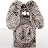 Case for LG K7,Warm Stylish Cute Artificial Rabbit Fur Bling Crystal Rhinestone Rabbit Ear Fluffy Soft TPU Case for LG K7/ LG Tribute 5(Brown)