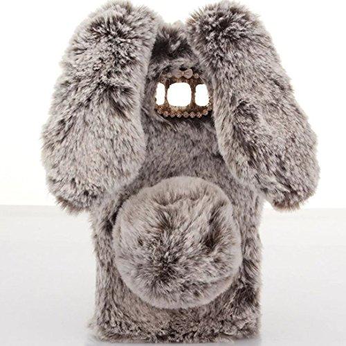 SevenPanda LG G5 Handyhülle, Plüsch Kaninchen Case Schale Tasche Handgefertigt Schutzhülle Niedlichen 3D Diamant Rhinestone Bogen Bunny Weichen Case Schutzhülle - Braun