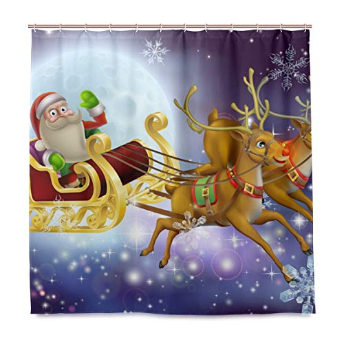 Mr.XZY Santa Claus Reindeer Moon Shower Curtain for Bathroom Polyester Waterproof Custom Bath Shower Curtain with 12 Hooks Set Decor 72x72 inch 2011356