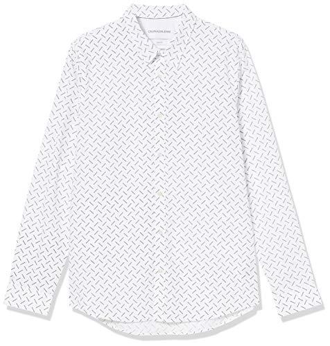 Calvin Klein CK Logo AOP Slim Stretch Camicia, Bianco Brillante, XXL Uomo