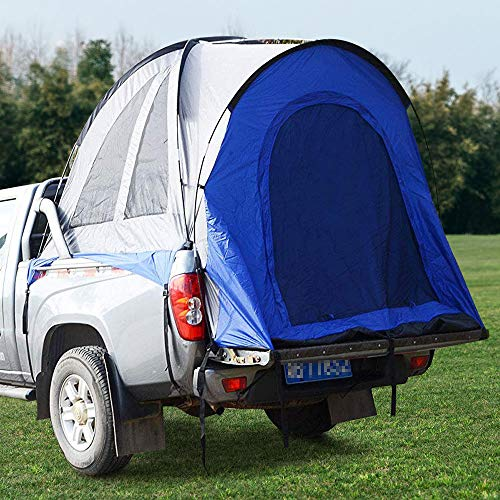 InLoveArts 5.5ft Truck Tents Waterproof Double Layer Bed Tent with Floor and awning Blue&Grey Travel camping Tent Full Size Pick Up Truck Pick Up Tent Inner&Outer 2 in 1