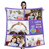 Personalized Love Mom Blanket with Customized 5 Photos Collage & Texts, Custom Throw Blankets for Mother's Father's Day Birthday Gifts, 40'' x 50''