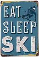 睡眠スキーブリキサインヴィンテージノベルティ面白い鉄の絵の金属板を食べる