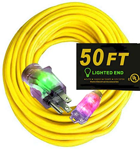 of cable extensions dec 2021 theres one clear winner 50 ft 10 3 Power Extension Cord Powerful heavy duty 15 Amps, 125 Volts, 1,875 Watt 10 Gauge Extension Cords 50 Foot Outlets Lighted Ends 10/3 Extension Cord 50 ft