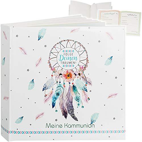 Kommunionalbum / Fotoalbum / Erinnerungsalbum _ Meine Kommunion _ Album - Buch Gebunden - blanko weiß + Seiten zum Eintragen - 60 Seiten - für bis zu 168 Bild..