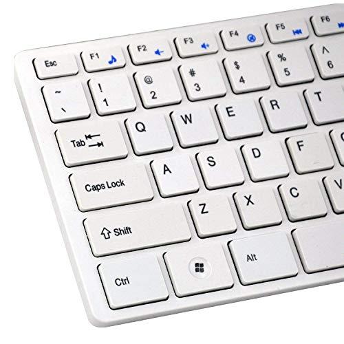 Gaetooely Kabellose Schlanke WeiiE Tastatur + Kabelloses Optisches Maus-Set für PC und Laptop