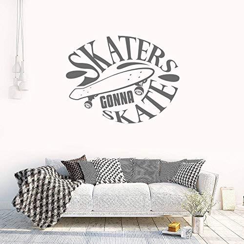 Zdklfm69 Pegatinas de Pared Adhesivos Pared Skate Text Wall Art Skate Boarding Sport Sticker Calcomanía para la decoración del hogar 42x33cm