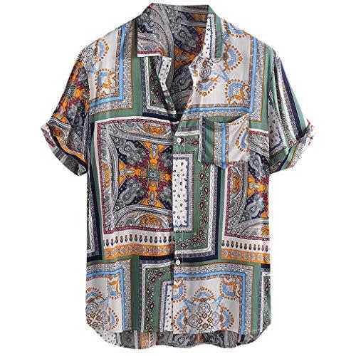 Xmiral Camicie Casual Larghe a Maniche Corte da Uomo Stampate Vintage Girocollo a Manica Lunga Vintage (XXXL,9- Verde)