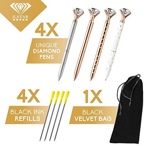 4 Big Diamond Pens Rose Gold & Silver – 4 Black Ink Refills & Cute Velvet Gift Bag, Top Cool School & Bling Office Supplies for Women Girls Coworker, Fancy Crystal Jewel Writing Ballpoint Pen Bulk Set Photo #4