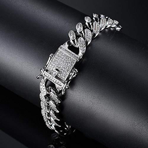 ZIYIZNL Heren Armband Ketting Hip Hop Tide Merk Cubaanse Ketting 12mm Brede Volledige Diamant Zirkoon Knipperende Heren Hiphop Trend Rap Street Dance Cubaanse Roestvrij Staal Zilver Zwart, 20CM