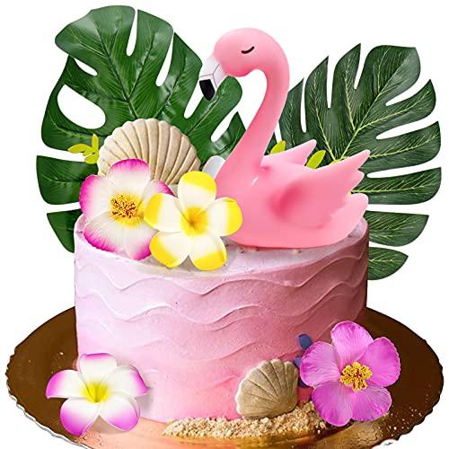 Mity rain 7pcs Flamingo Cake Toppers, Flamingo Palm Leaves Hibiscus Flowers Hawaiian Luau Cake Decorations for Tropical Theme Birthday Party Supplies