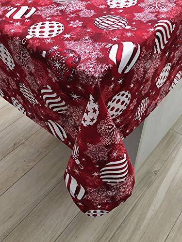 1KDreams Tovaglia Natalizia. Design Raffinato Palline Stelle Addobbi Sfondo. Rossa. Shabby Chic in Chiave Moderna. Made in Italy. (130x240 cm)