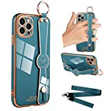 MOWIME iPhone 12 Pro Max Case, Soft TPU Plating Bumper Wrist Strap Band Kickstand with Lanyard Anti-Scratch Shockproof Protective Case Cover for 12 Pro Max 6.7 in 2020 - Blue