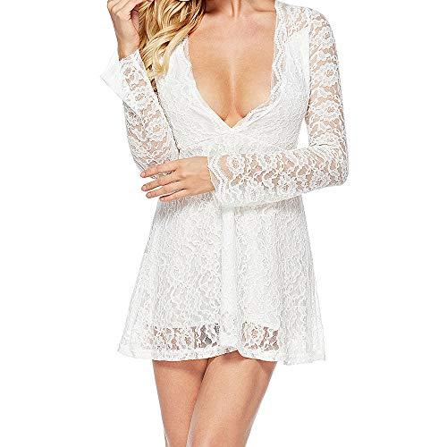 NPRADLA Damen Spitzenkleid Elegant Cocktailkleid Festliche Brautjungfernkleider für Hochzeit Knielang Abendkleider