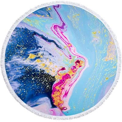 IAMZHL Toalla de Playa Redonda Grande de mármol para Adultos, Colorido, patrón de Arenas movedizas, Toalla de baño de Microfibra, Ducha, Cubierta de natación, Esterilla de Yoga-a25