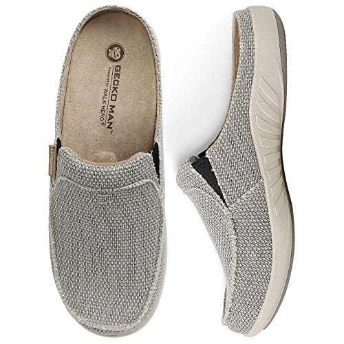 House Slippers for Men, Canvas House Slipper for Men with Suede Insole and Velvet Lining, Slip on Clog House Shoes with Indoor Outdoor Anti-Skid Rubber Sole, Grey