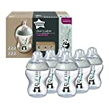 Tommee Tippee Biberons Closer To Nature, Valve Anti-Colique, Tétine Souple, Lot de 6, 0+ Mois, 260 ml, Pippo le Panda