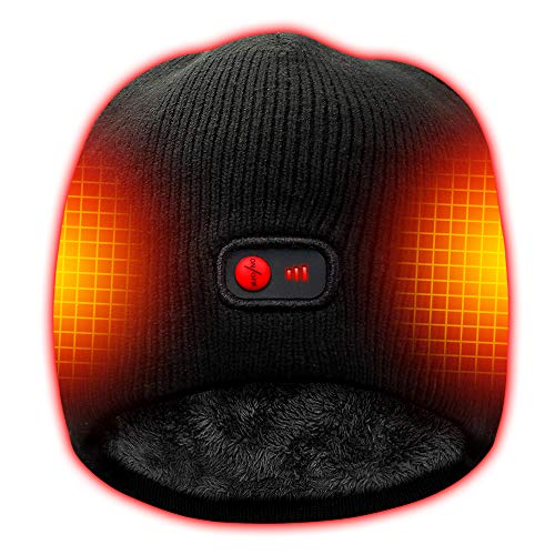 HEAT WARMER Rechargeable Battery Electric Heated Hat Winter Warm Knitting Beanies,Works 3-7H