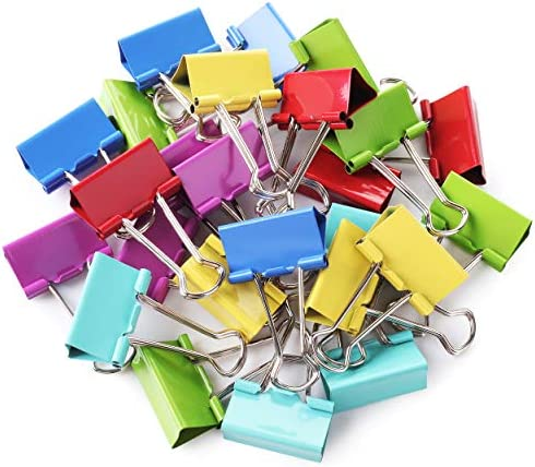 Mr Pen Binder Clips 1 25 inch 25 Pack Medium Colored Binder Clips Binder Clips Medium Size Color product image